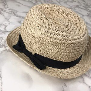 Tan Straw Fedora Black Bow